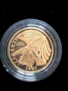 1987 Five Dollar US Constitution Proof Coin with Certificate of Authenticity