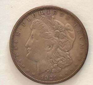 1921 US One Dollar Morgan. Average condition, circulated.