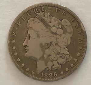 1886 Morgan Silver Dollar. Good condition, circulated