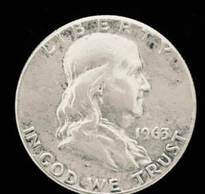 1963 US Ben Franklin Silver Half Dollar. Average condition, circulated.