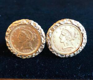 Pair of 14 Karat Gold Cuff Links. Each containing (1) 1881 US Five Dollar Half Eagle Gold Coin