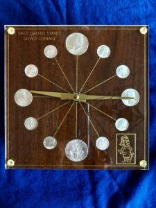 Promotional Clock with last US silver coinage 1964. Two half dollars, 2 Inline image