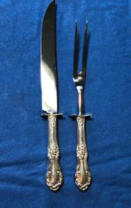 "International Silver Wild Rose 1 Small Carving Knife 10 3/8""and Fork 9"""