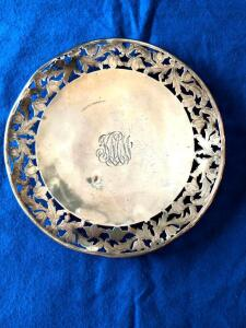 "Webster Sterling monogrammed footed platter, pretty but dented and bent. 8 1/8"" Dia 7/8""H 202g"