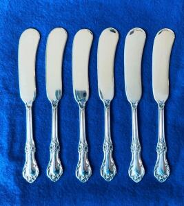 International Sterling Silver Wild Rose 12 Butter Spreaders flat handle, paddle blade 28g 6""