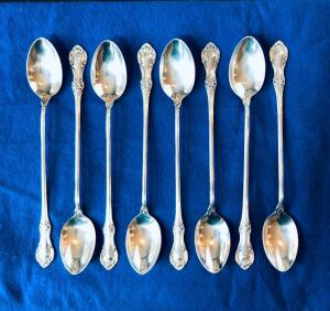 Eight International Sterling Silver Wild Rose Ice Tea Spoons
