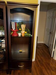"Book case with drawer and 3 glass shelves. 24 x 18 x 71"" tall."