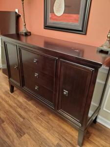Expresso color buffet with silver storage drawer, 2 doors and 2 additional drawers.