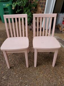 "Soft pink wood child's chairs. 13 x 13 x 22"" tall. Seat height 15""."