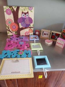 Colorful decorative items perfect for a girl's room.