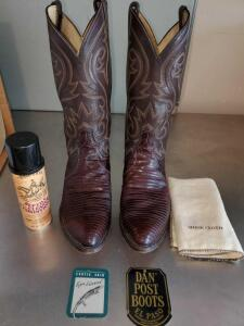 Gently worn Dan post teju lizard skin boots in size 10 1/2 EW.