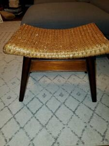 "Contour woven-top stool. 24 x 17 x 18"" tall."