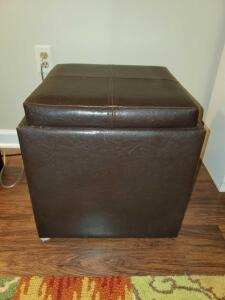 Storage ottoman that doubles as a serving tray. 18 x 18 x 18.
