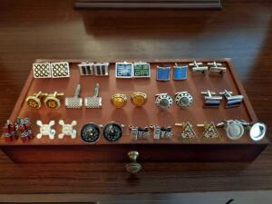 Bombay men's valet chest and a Wonderful grouping of men's cufflinks, and bbcollar extenders.