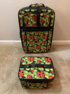 Ladybug suitcase and makeup bag