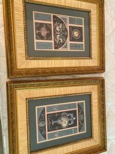 Pair of framed prints of Greek art