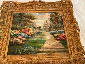 Framed Oil painting of beautiful garden