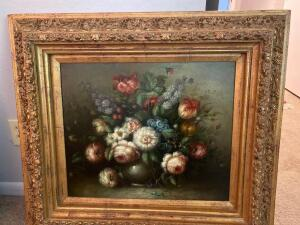 Framed oil painting floral arrangement
