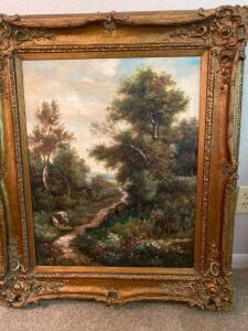 Beautifully framed oil painting of countryside