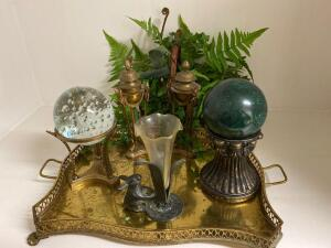 Brass tray, decorative items and silk flower arrangement