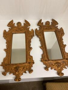 Pair of decorative framed mirrors