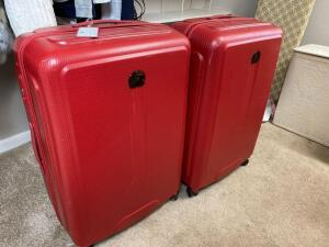 Large red Delesy luggage