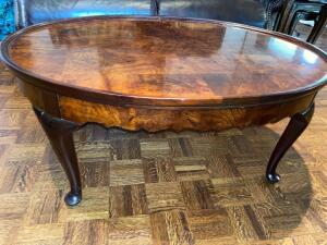 Oval wooden coffee table