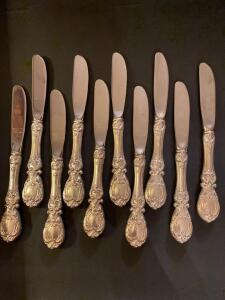 10 Reed and Barton Frances I butter knives with sterling handle