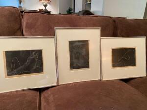 Three framed drawings by Stevens