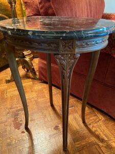 Marble top French style end table
