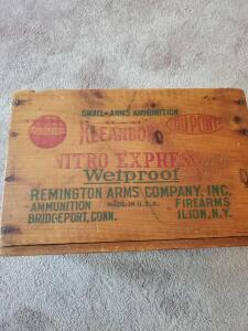 "Vintage Remington arms company ammo box, 10"" tall, 15"" across, 9"" wide"