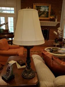 "Antique look lamp with decorative base and silk shade. 31"" tall."