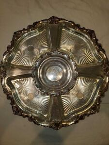 "Beautiful Silver plate lazy Susan with glass dishes.17x3"" tall."