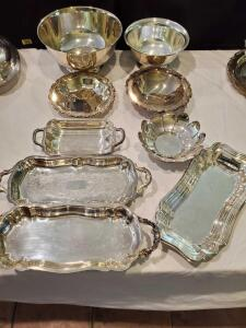 Silverplate bowls and rectangle trays.
