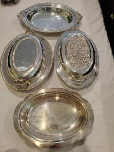 2 covered oval dishes and 2 open oval dishes.