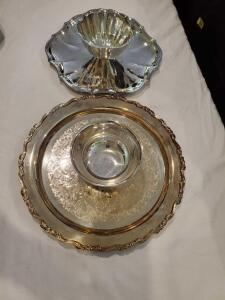 "Two silverplate chip and dip bowls. 11"" and 13"" diameter."