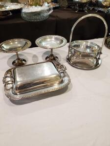 2 Pedestal candy dishes, covered dish, 3 tier server all in silverplate.