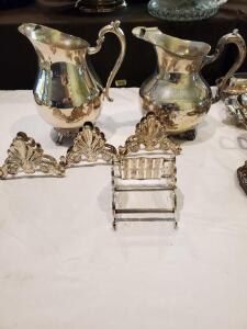 Silverplated Buffet Caddies for Flatware and 2 water pitchers.