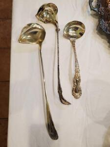 "3 silverplate punch ladles. 10"", 14"", and 15"""