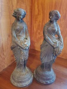"A pair of 18"" figurines, styled with an antique bronze finish, not sure of the material"