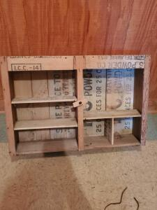 "A vintage display/shelf made from crates, 19"" tall, 28"" across, 7"" wide"