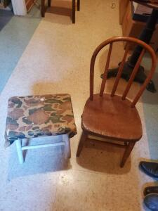 "A vintage children's chair, and a stool. Chair seat is 14"" tall, back is 26"", stool is 15"" tall"