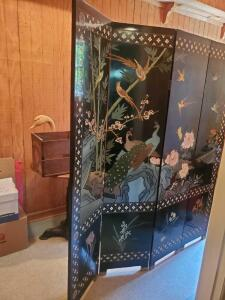Sensational Vintage dual-sided, black lacquer screen with Asian influence etched on both side of screens are etched