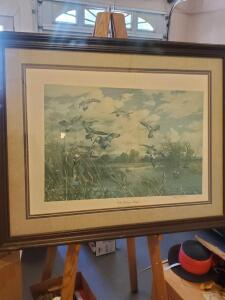 "A signed, framed and matted print titled ""wild heritage-widgoon"" by Harry c Adamson, 30 x 38 (need to be centered in the frame)"