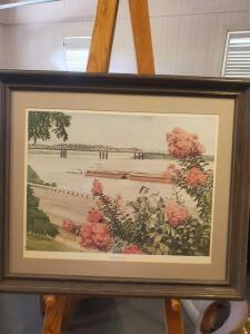 "A framed and matted print by local artist Memphis t. Mississippi, titled "" by way of the river"", 23 x 27"