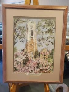 A framed and matted print of the Richard halliburton memorial tower, Rhodes college, Memphis, 28 x 23