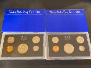 2 United States proof sets 1972
