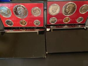 One 1973 United States proof set and one 1974 United States proof set