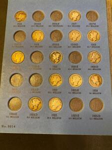 """Mercury"" head dime collection various dimes from 1916 to 1945"