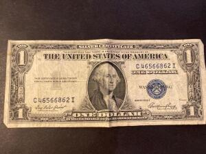 Silver certificate 1935E one dollar bill